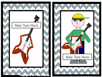 Ipods and Rockstar clipart with Slate gray chevron borders
