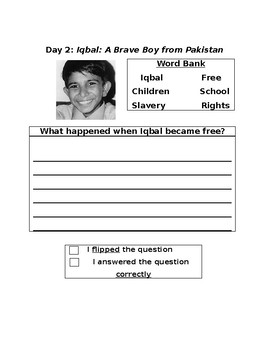 Iqbal, a Brave Boy from Pakistan: Three Day Close Reading Plan