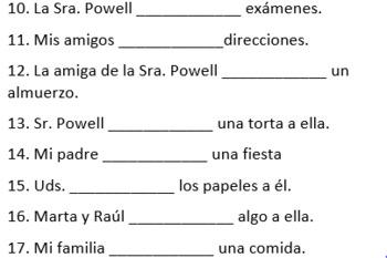 Spanish Conjugation Practice: Ir, Dar and Estar Worksheet
