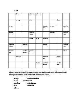 Ir Spanish verb present tense Sudoku