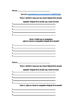 Ir + a + Infinitive: Listening Speaking and writing activity