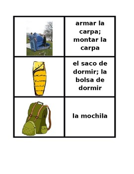 Ir de Camping (Camping in Spanish) Concentration Games