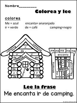 Ir de camping ~Spanish Camping Reader {en español} & Cut & Paste
