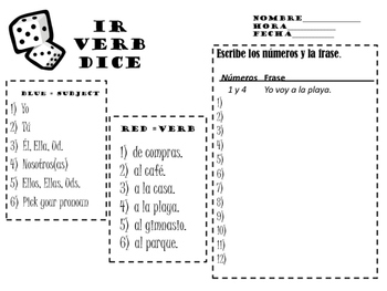Ir (to go) Verb Dice
