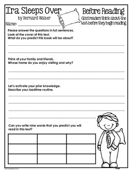 Ira Sleeps Over: a reading response/comprehension booklet for 2nd/3rd graders