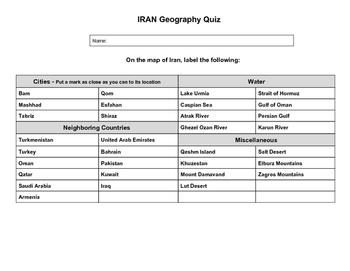 Iran Geography Quiz