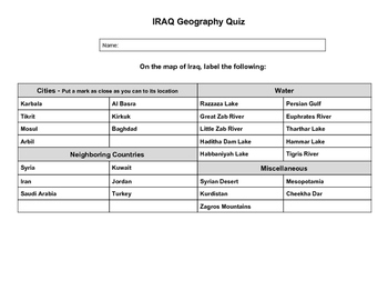 Iraq Geography Quiz