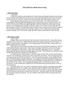 Iraq handout and quiz