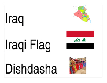 Iraq vocabulary cards