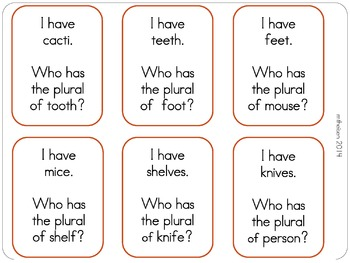 "Irregular Plurals ""I Have, Who Has?"" Game"