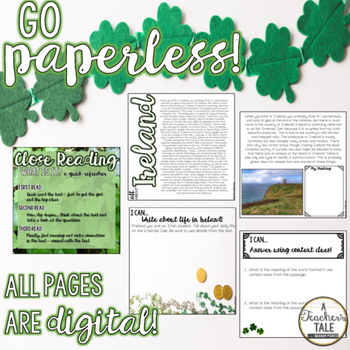 Ireland Close Reading - For GOOGLE drive/slides!