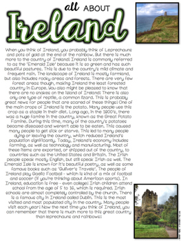 Ireland Close Reading - Perfect for St. Patrick's Day!