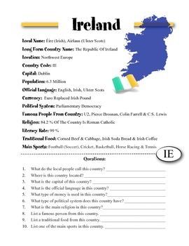 Ireland Information & Worksheet