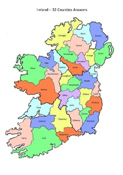 Ireland Map 32 Counties