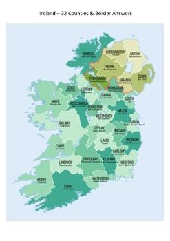 Ireland Map - 32 Counties & Border