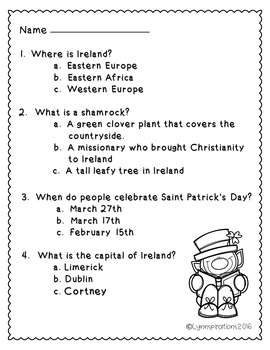 March Activities - Ireland Reading Comprehension