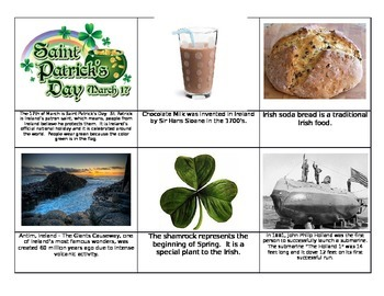 Ireland St. Patrick's Day Montessori Fact cards