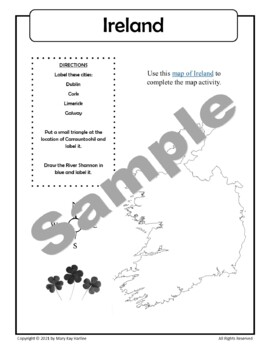 Ireland:  Worksheets, Maps, and Journaling Pages