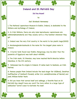 Ireland and St. Patrick's Day Factoids(Interactive Notebook Activity)