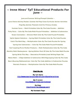 June: Irene Hines' TpT Educational Product List For June
