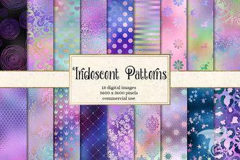 Iridescent Patterns, holographic rainbow pastel unicorn digital paper background