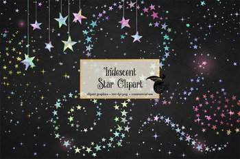 Iridescent Star Clipart and Patterns