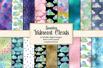 Iridescent clouds digital paper, rain cloud and rainbow seamless patterns