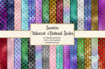 Iridescent mermaid scale patterns, glitter shimmer digital paper backgrounds