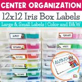 Iris Box Labels - Math and Literacy Center Organization