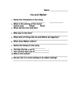 Iris & Walter Reading Comprehension Sheet