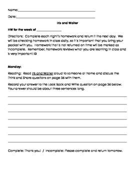 Iris and Walter Homework Packet