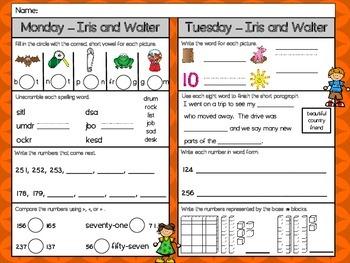 Iris and Walter Homework - Scott Foresman 2nd Grade