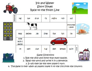 Iris and Walter Spelling Words Gameboard Unit 1 Week 1