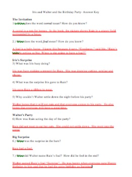 Iris and Walter and the Birthday Party Comprehension Questions