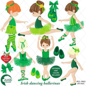 Irish Ballerina clipart, Irish Ballet clipart, {Best Teacher Tools
