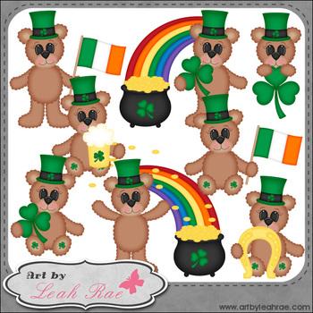 Irish Bears 1 - Art by Leah Rae Clip Art & Line Art / Digital Stamps