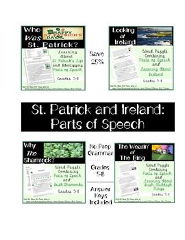 St. Patrick Grammar Practice Bundle: 4 Activities (7 P., Ans. Key, $4)