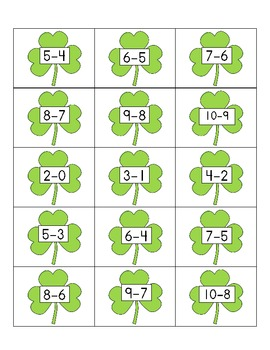 Irish Eyes Are Smiling On Subtraction Facts 1 to 10