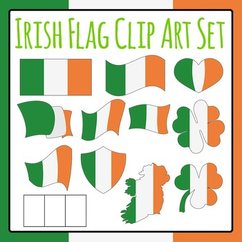 Irish Flag Clip Art Set for Commercial Use