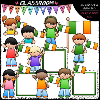 Irish Flag Kids - St. Patrick's Day Clip Art & B&W Set