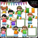 Irish Flag Kids - St. Patrick's Day Clip Art & B&W Set