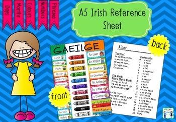 Irish / Gaeilge Reference Sheet