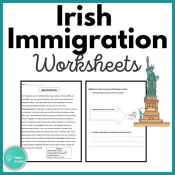 Modified Irish Immigration Close Reading for Special Education and ESL