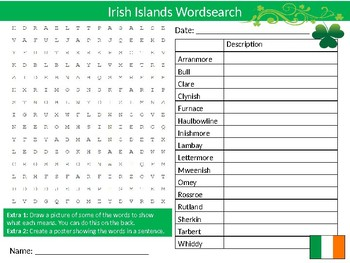 Irish Islands Wordsearch Sheet Ireland Countries Geography Starter Keywords