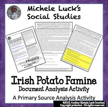 Irish Potato Famine Account Primary Source Analysis Activity