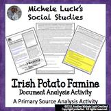 Irish Potato Famine Account Primary Source Analysis Activity
