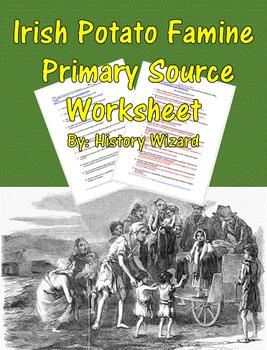Irish Potato Famine Primary Source Worksheet
