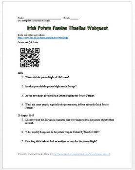 Irish Potato Famine Timeline Webquest