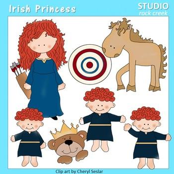 Irish Princess Color Clip Art  C. Seslar horse target triplets