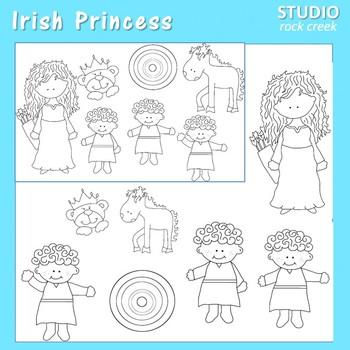 Irish Princess Line Drawing Clip Art  C. Seslar horse target triplets